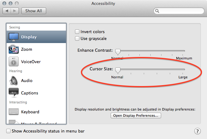 How to make Mac OS X Cursor More Visible | MichaelYin Blog